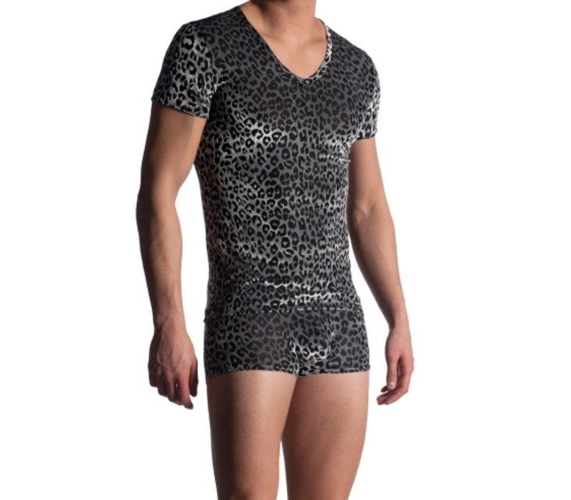 Manstore Shirt met diepe V-hals <zilver/panther>  ·M908 NIGHTCLUB·
