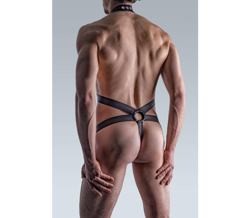 Manstore Body Strap met ring Leder-Look <zwart> ·M510 Passion Club·