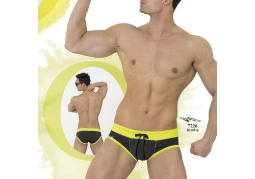Eros Veneziani Eros Veneziani 7226 Push Up Swim Brief <black/yellow>