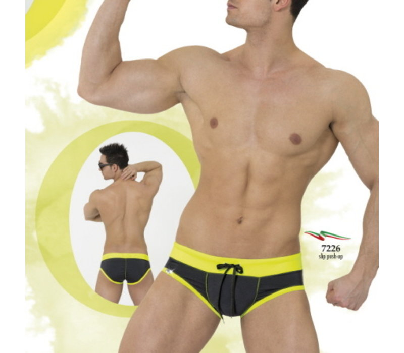 Eros Veneziani Push Up Swim Brief <black/yellow> ·7226·