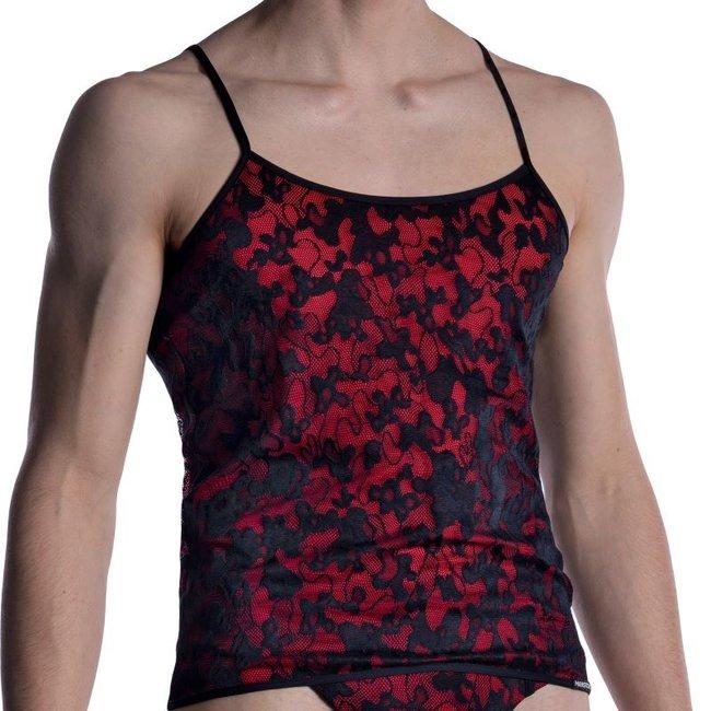 Manstore Shirt in kant met spaghetti bandjes <zwart/rood> ·M2006·