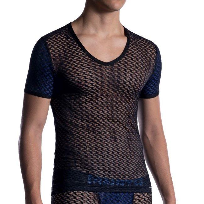 Manstore V-shirt Low <black/blue> ·M2053·