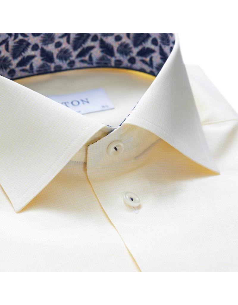 Eton Plain Slim Fit Shirt Leaf Trim