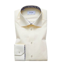 Eton Plain Slim Fit Shirt Leaf Trim