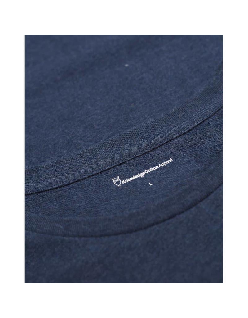 Knowledge Cotton Plain T Shirt Blue