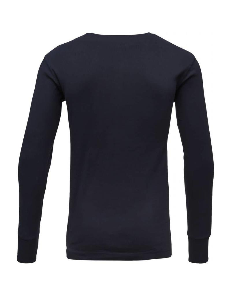 Knowledge Cotton Rib Henley Top Navy