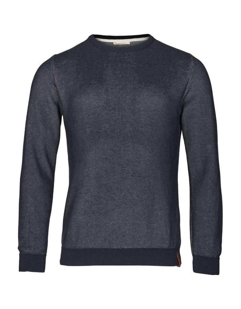 Knowledge Cotton Two Tone Pique Knit Navy