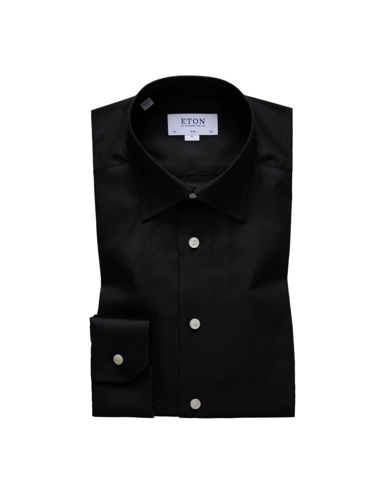 Eton Button Collar Shirt Black