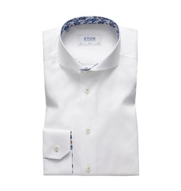 Eton Floral Trim Shirt White