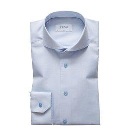 Eton Twill Check Shirt Sky