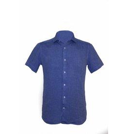 Pavilion Mens Short Sleeve Linen Shirt Blue