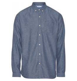 Knowledge Cotton Flannel Shirt Blue