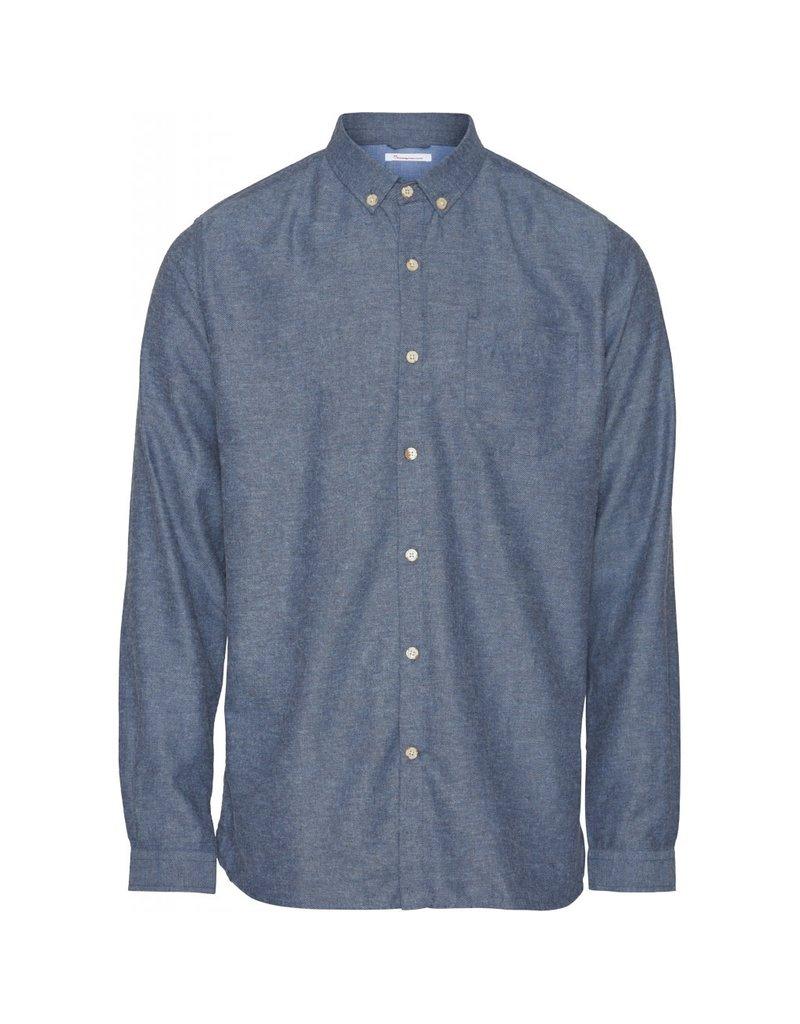 Knowledge Cotton Flannel Shirt Blue