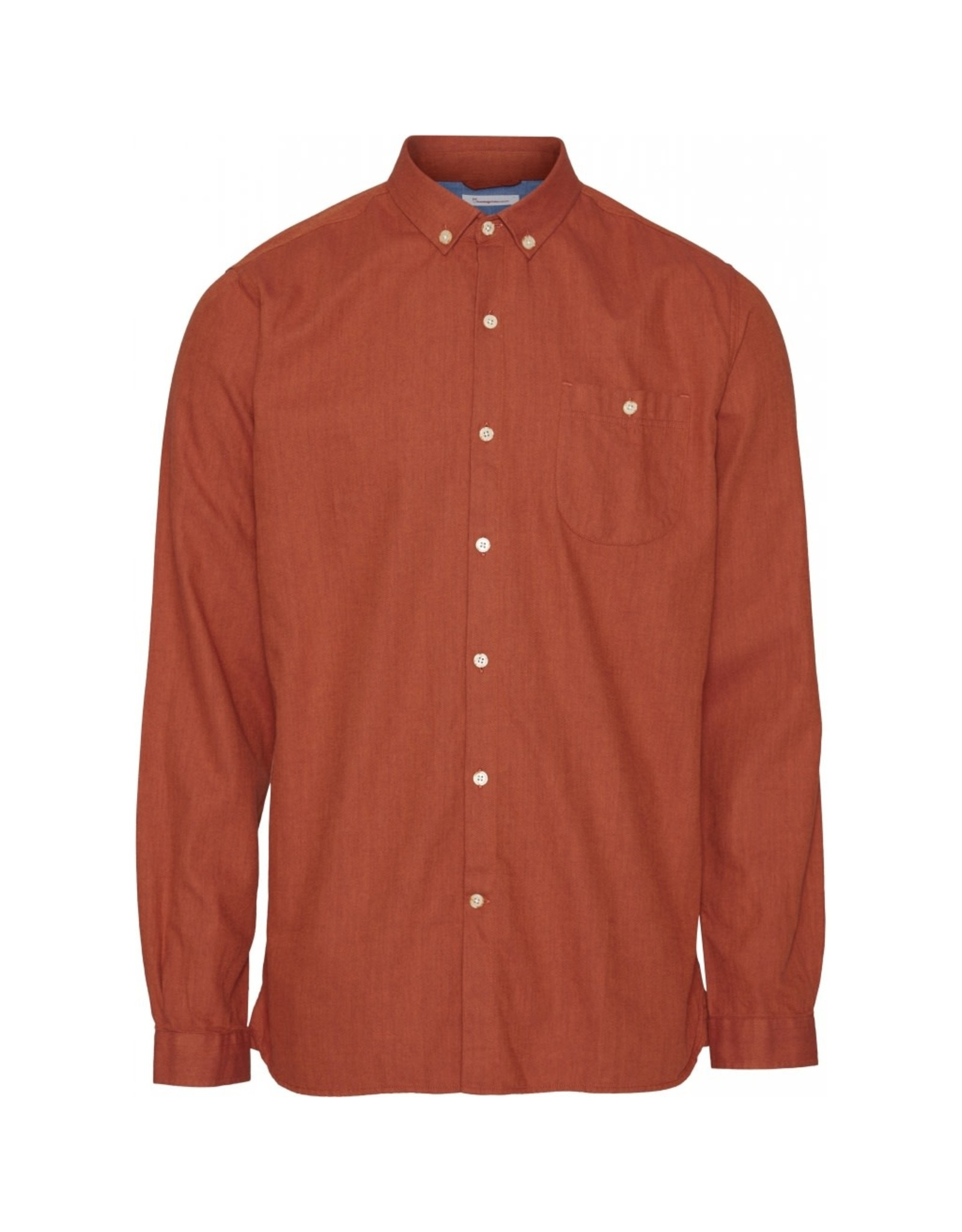 Knowledge Cotton Flannel Shirt Orange