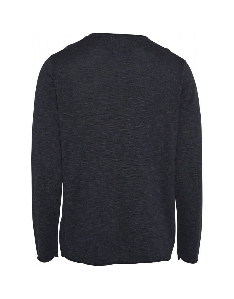 Knowledge Cotton Roll Edge Knit Navy