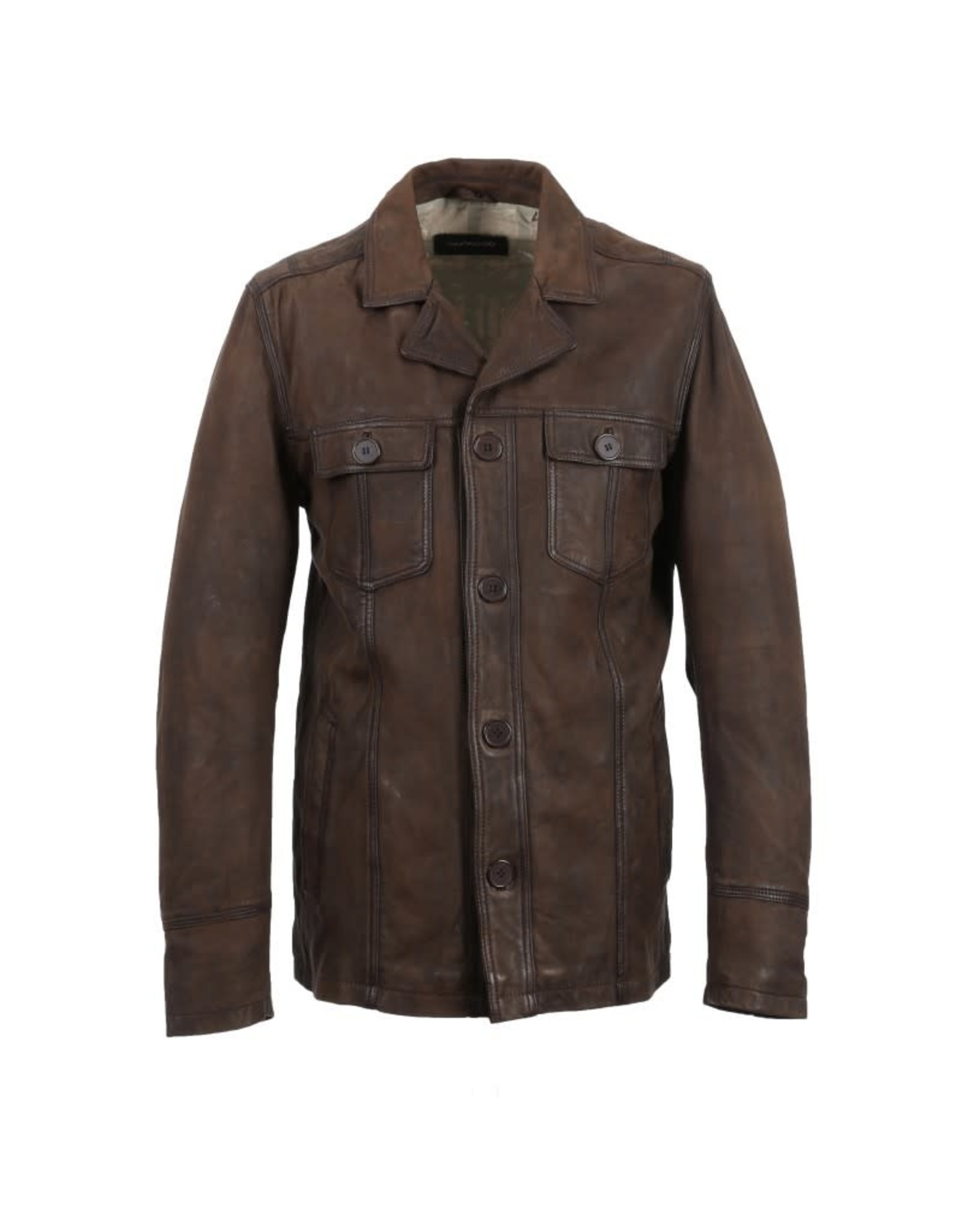 Oakwood Mens James Leather Jacket Brown