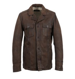 Oakwood Mens James Leather Jacket Brown