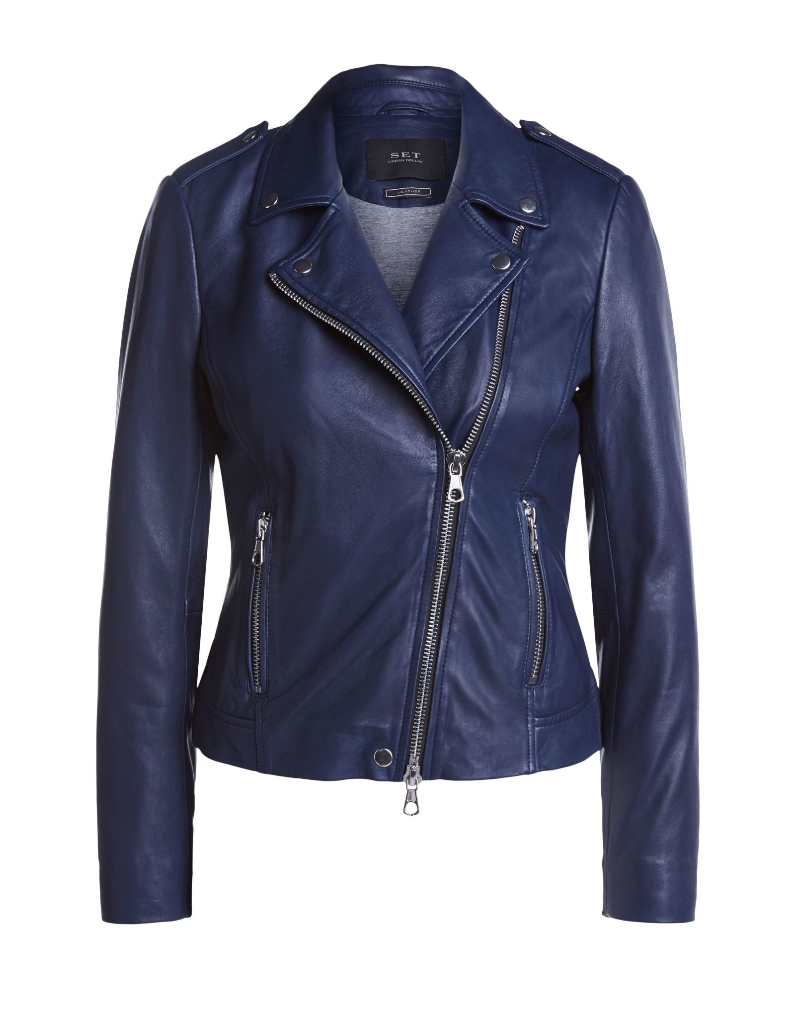 Set Tyler Leather Jacket Blue