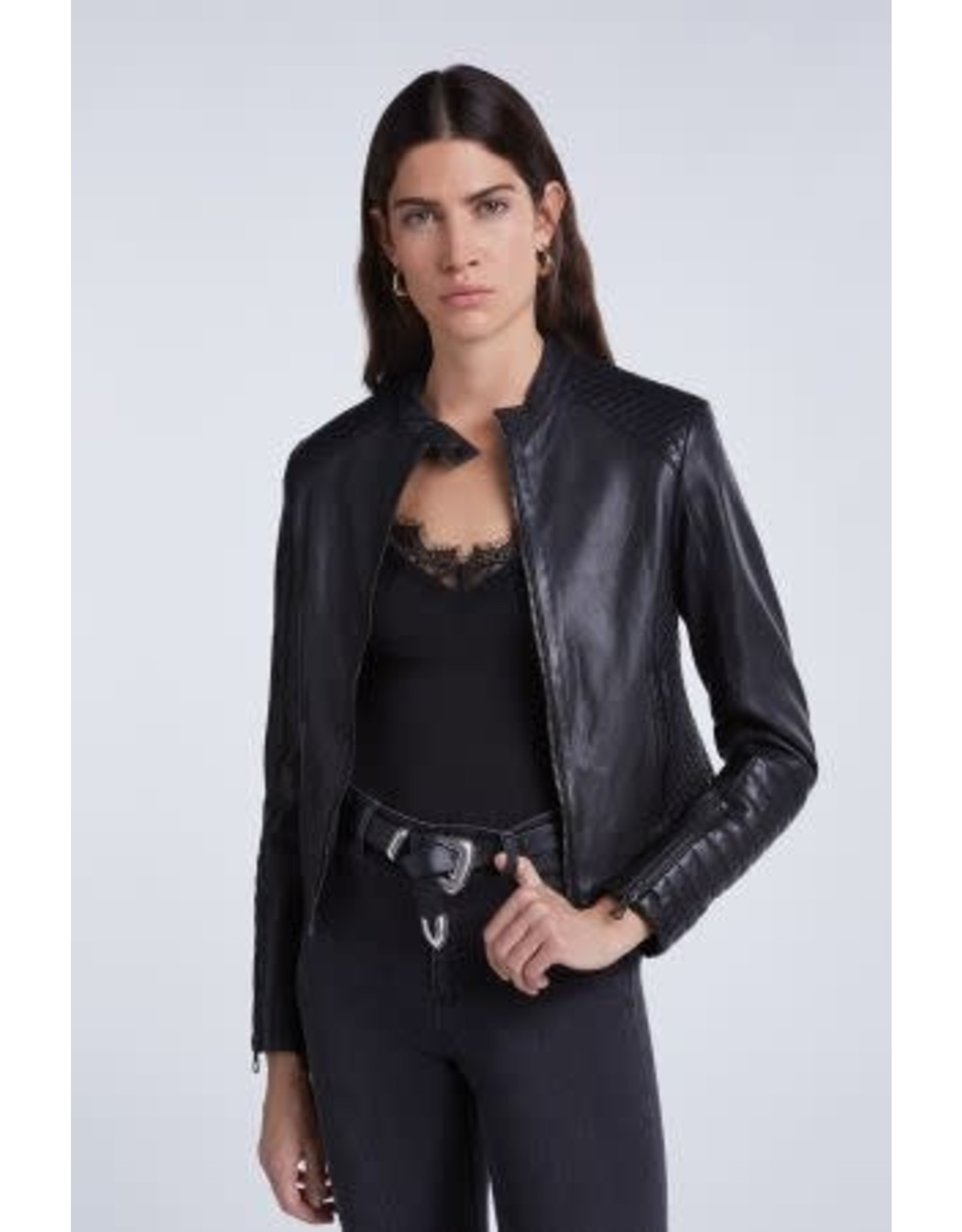 Set Quilted Leather Jacket