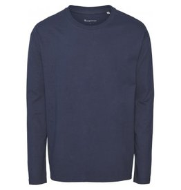 Knowledge Cotton Long Sleeve T Shirt Navy