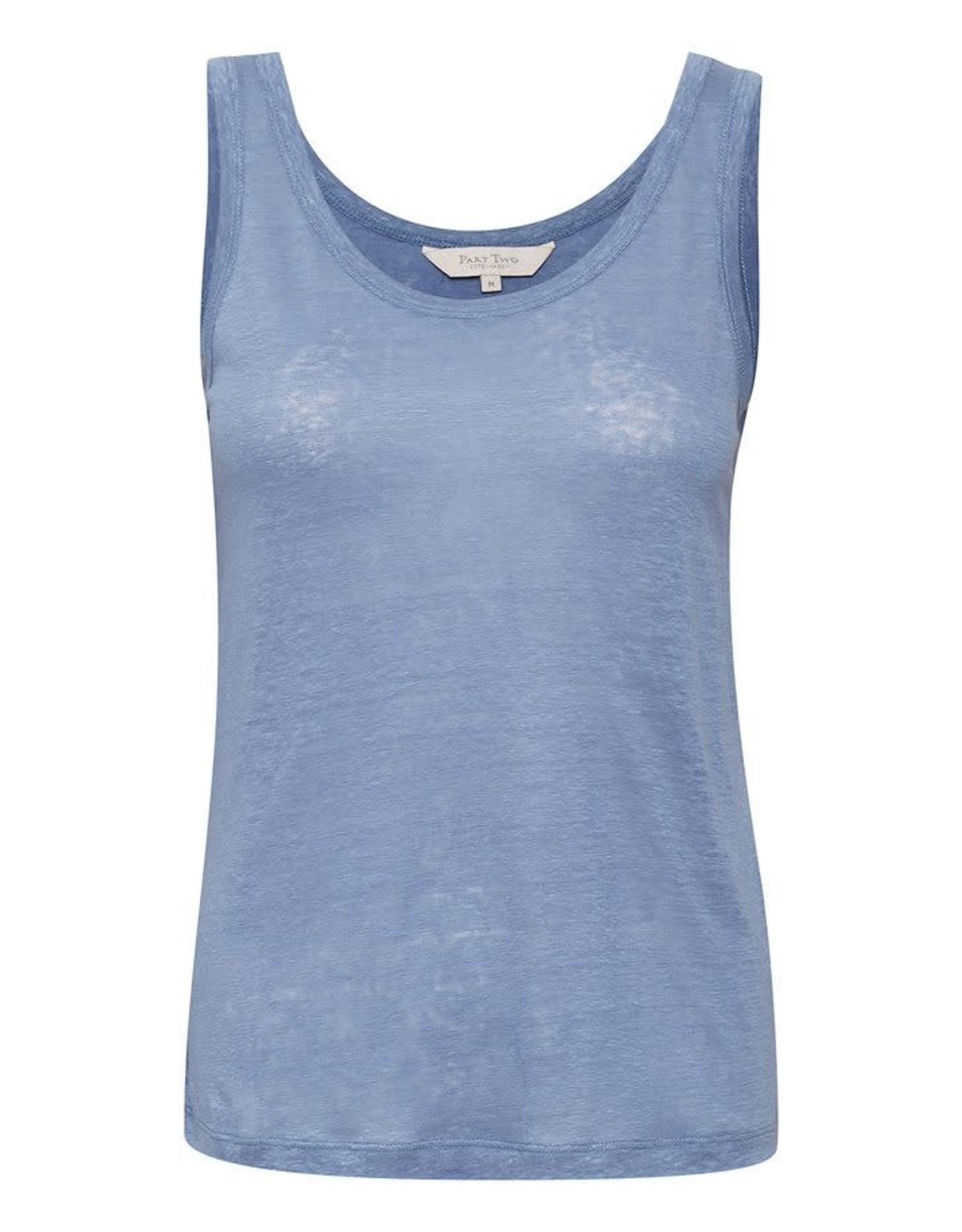 Part Two Isnel Linen Vest Blue