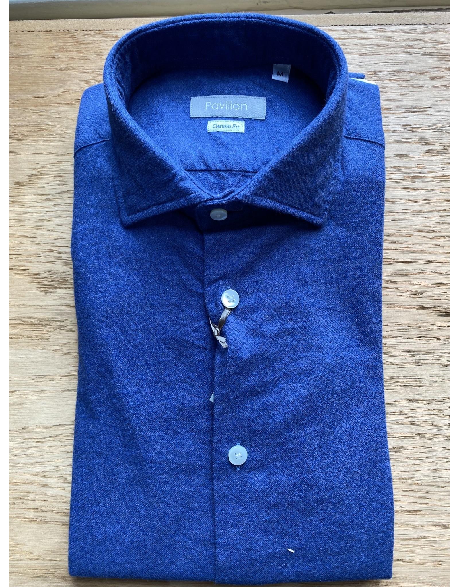 Pavilion Mens Plain Flannel Blue Shirt