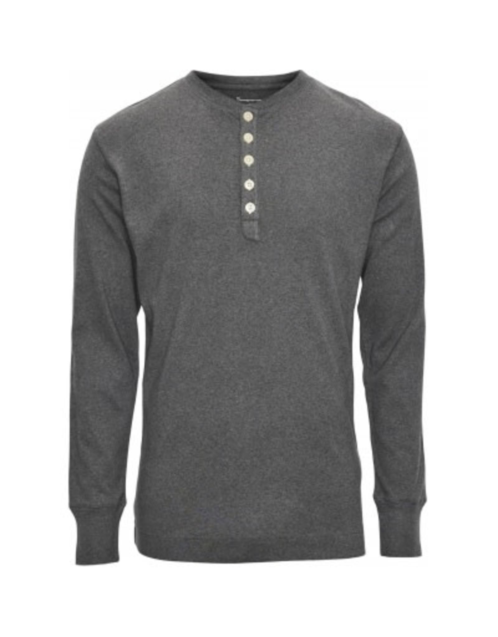 Knowledge Cotton Henley Grey Top