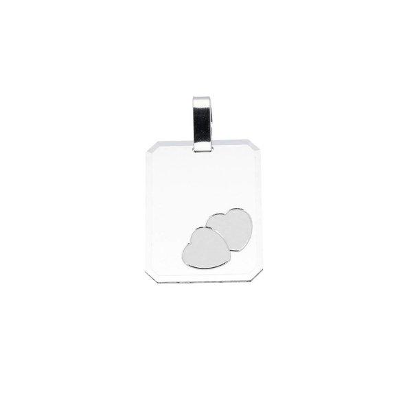 Zilveren graveerplaatje - 16 mm - rechthoek harten