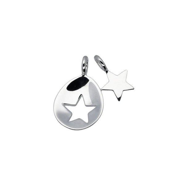 Zilveren hanger - moeder en kind - ovaal open ster