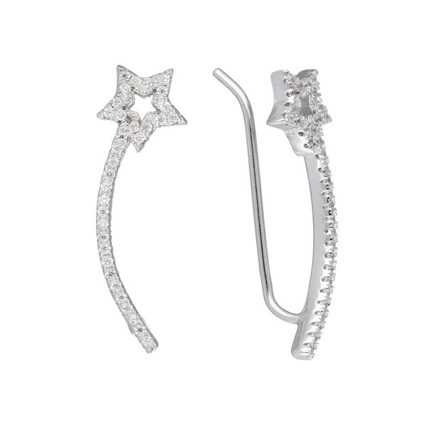 Zilveren gerodineerde earcuffs - ster