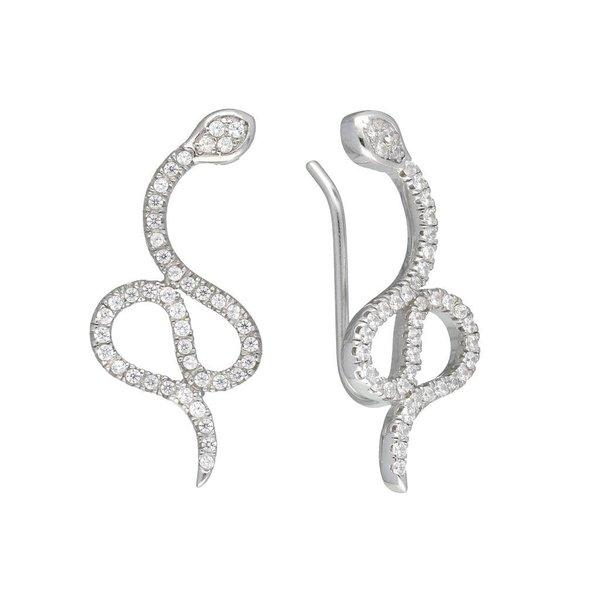 Zilveren gerodineerde earcuffs - slang