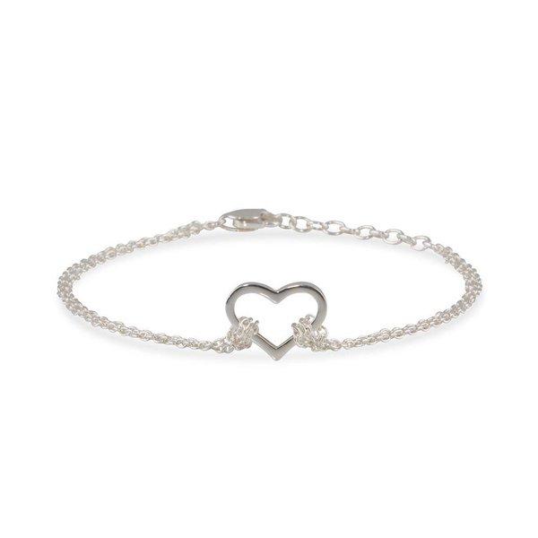 Zilveren armband - anker - open hart
