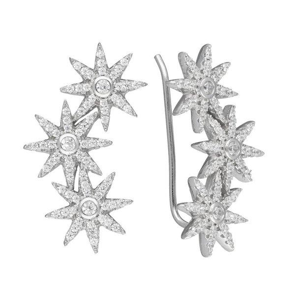 Zilveren gerodineerde earcuffs - bloem