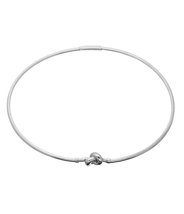Elegance Zilveren choker - knoop - gerodineerd -