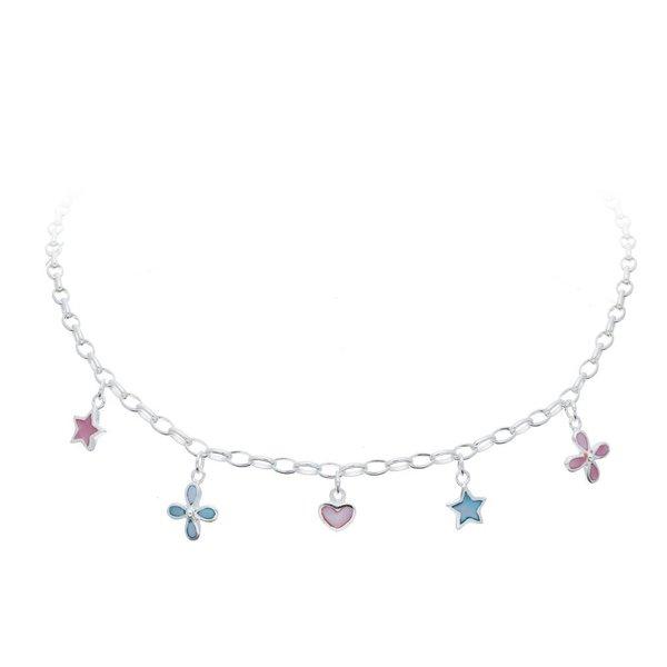Zilveren bedelcollier - sterren, bloemen en hart