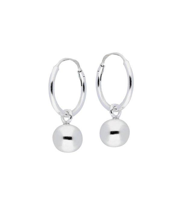 Lilly Zilveren draadcreolen - Hanger bolletje - 1.2 x 14 mm