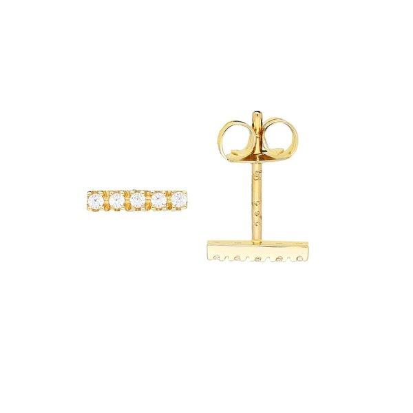 Gouden oorknoppen - staafje - zirkonia