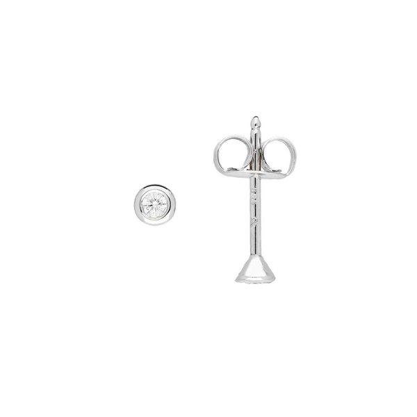 Witgouden solitair oorknoppen - diamant -2-0.04ct