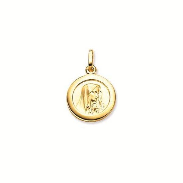 Gouden maria - 12 mm - rond - gladde rand