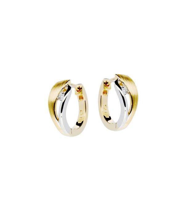 Glow Gouden klapcreolen - bicolor - mat glanzend - Diamant - 2-0.05ct - g/si