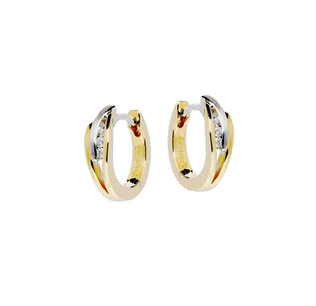 Glow Gouden klapcreolen - bicolor - mat glanzend - Diamant - 6-0.06ct - g/si