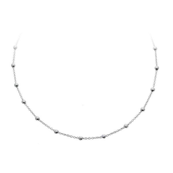 Zilveren collier - anker - bolletjes
