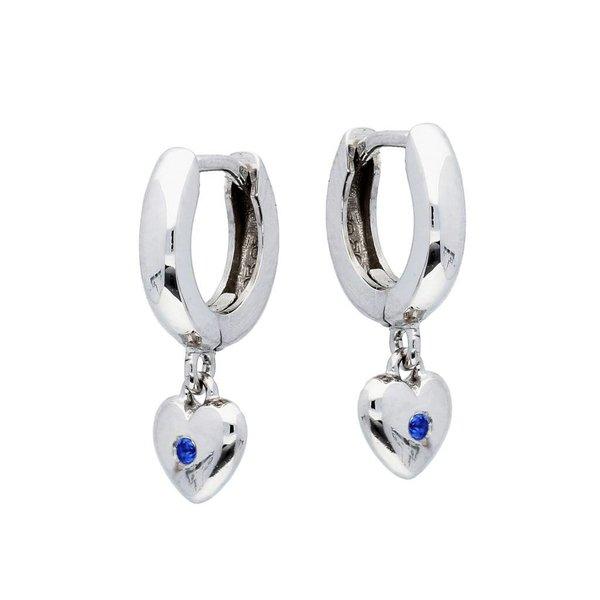 Zilveren kindercreolen - hart met blauwe  zirkonia