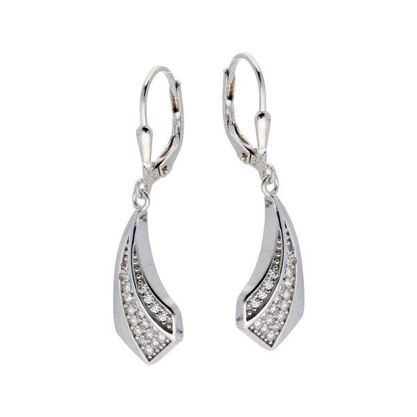 Zilveren oorhangers - mat glanzend - zirkonia