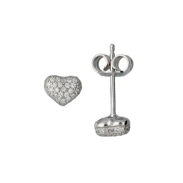Zilveren oorknoppen - hart - zirkonia - pavé