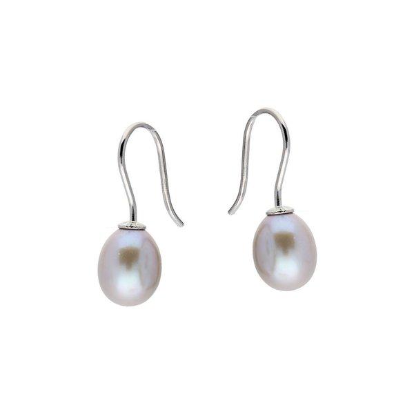 Zilveren oorhangers - zoetwaterparel - grijs
