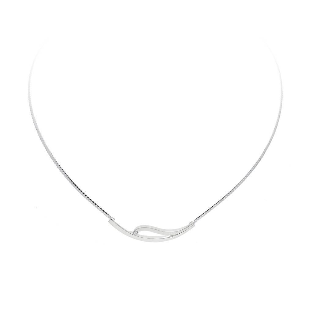 Best basics Zilveren collier - mat glanzend - zirkonia - 43 + 2.5 cm