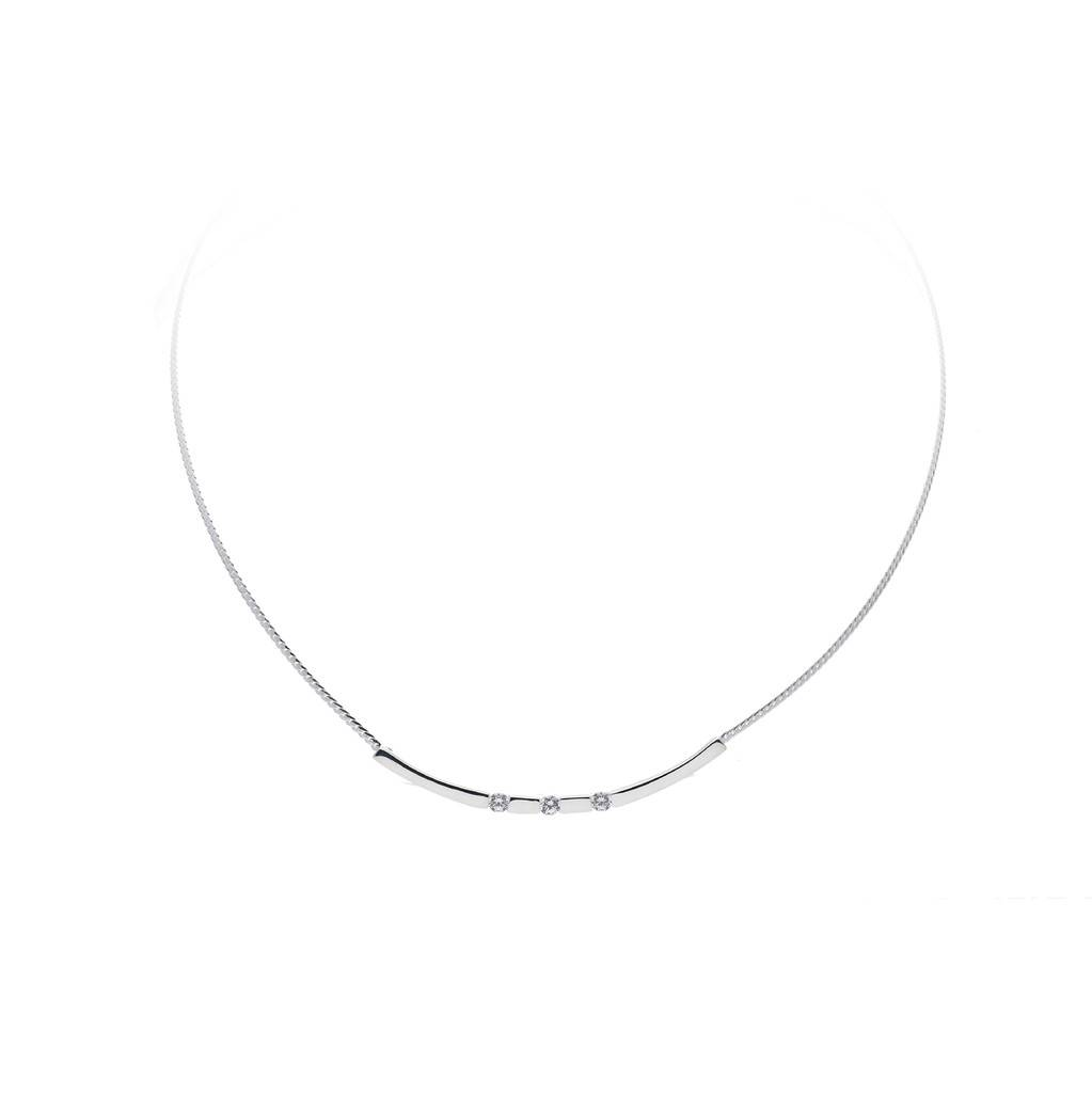 Best basics Zilveren collier - glanzend - zirkonia - 43 + 2.5 cm