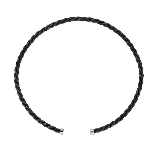 Zilveren geoxideerde klemarmband - 2.5 mm - 62 mm