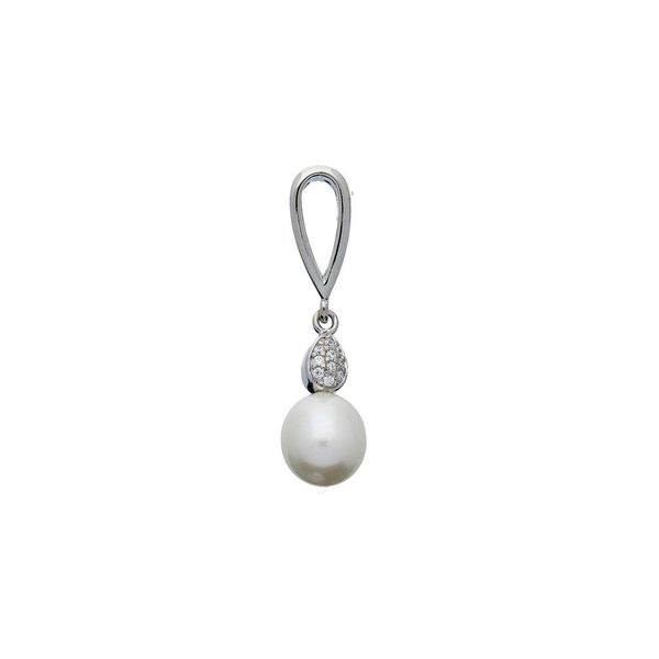 Zilveren hanger - zoetwaterparel - wit